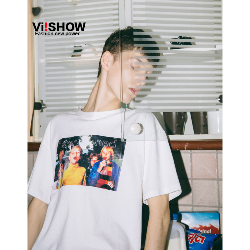 VIISHOW2018男装新款短袖T恤男士圆领印花半袖夏季情侣体恤潮流
