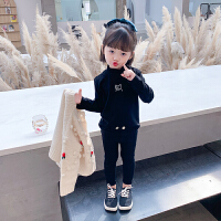 女童打底衫2021秋冬装新款半高领T恤儿童装宝宝洋气春秋长袖上衣