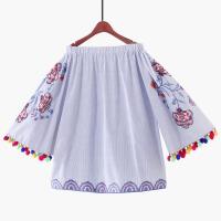 2018重工花朵刺绣波西米亚度假风喇叭袖娃娃裙衫一字领露肩流苏女