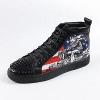 欧美柳钉男鞋高帮鞋涂鸦发型师潮鞋韩版内增高板鞋个性中邦休闲鞋