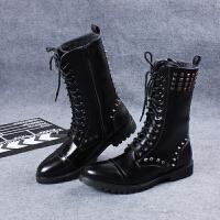 马丁靴男潮韩版高帮长筒柳钉英伦风军靴系带拉链冬季加绒保暖皮靴