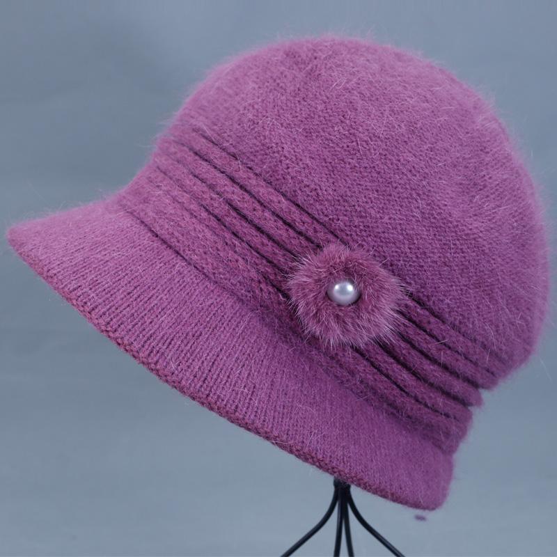 老年人冬天帽子女士兔毛线帽中老年奶奶加厚保暖盆帽妈妈老人棉帽