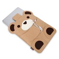 BUBM 11Air泰迪熊裸机适用电脑包苹果macbook air电脑包毛毡卡通内胆包防震防摔笔记本 泰迪熊11AIR