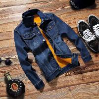 冬季男式棉衣夹克韩版修身翻领加绒加厚牛仔外套