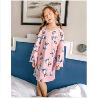 女童长袖公主小孩家居服亲子儿童睡裙春秋季棉中大童宝宝睡衣