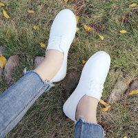 韩版学生镂空平底透气一脚蹬帆布女鞋小白鞋女时尚百搭