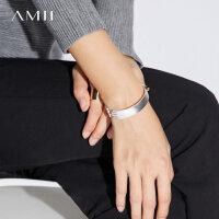 Amii[极简主义]简约哑光手镯女2017新款创意开口百搭时尚金属首饰