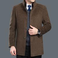 秋冬季中年毛呢大衣男立领修身厚款男外套中老年人羊毛呢风衣男士 卡其色 170/88A(M)