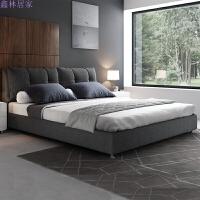 北欧风1.8米可拆洗棉麻布艺床小户型主卧婚床软包床现代简约双人床