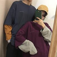 秋冬女装新款韩版宽松字母印花撞色长袖假两件T恤上衣学生潮