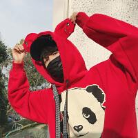 韩版春季新款卡通印花连帽情侣卫衣港风加厚宽松bf风套头运动外套