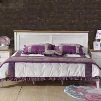 尚满 地中海系列实木框架单双人床床1.5/1.8米 水曲柳木仿古白卧室家具组合套装 白色
