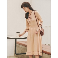 法式针织长袖连衣裙2019秋季新款女优雅复古小个子中长款高腰裙子