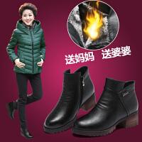 2017冬季短靴中跟粗跟女棉鞋加绒保暖女靴子妈妈鞋中年女马丁靴