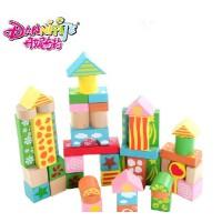 丹妮奇特 创意乐园积木大块环保木制积木早教益智儿童玩具8458-1