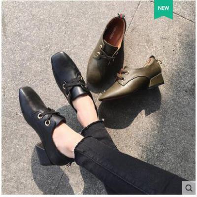 古奇天伦韩版粗跟春鞋春季新款女鞋小皮鞋女中跟英伦方头单鞋黑色百搭RT05037 品质保证 货到付款 售后无忧