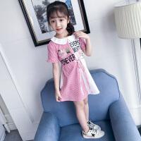 韩版儿童洋气夏装女大童拼接条纹公主裙子女童短袖连衣裙