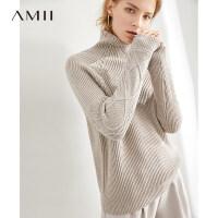 【到手价:177元】Amii极简慵懒风学生套头麻花毛衣女2019秋冬新款高领毛针织衫上衣