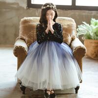 女童礼服公主裙冬加绒钢琴表演儿童生日走秀长裙蓬蓬纱