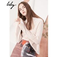 【25折到手价:128元】 Lily春新款女装宽松落肩袖毛衣后绑带纯色毛衣118110B8302