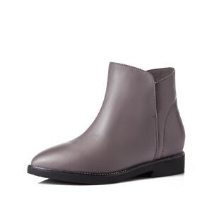 富贵鸟 秋冬季新款短靴女平底靴英伦风马丁靴短筒靴子冬靴