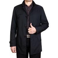 男春秋季中长款纯色风衣商务休闲宽松外套中老年男装薄款立领风衣