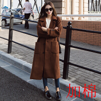 秋装新款韩版女装毛呢外套冬季宽松大码过膝长款加厚学生呢子大衣 焦糖色 夹棉