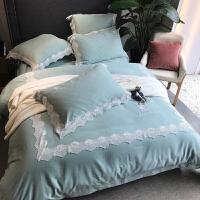 家纺冬季四件套磨毛纯棉 加厚保暖小清新蕾丝刺绣公主风4件套床上用品 天蓝色
