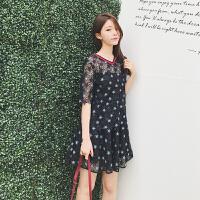 蕾丝裙女高腰修身显瘦镂空星星半身裙a字裙套装两件套