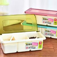 厨房翻盖塑料调味盒罐调味瓶调料盒盐罐套装配勺时尚厨房用品 蓝色