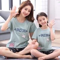 女孩睡衣短袖薄款春夏季儿童家居服中大童小孩宝宝母女套装薄