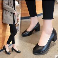 四季圆头中跟粗跟女单鞋浅口职业工作鞋女黑色高跟鞋正装鞋女皮鞋