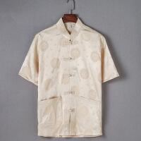 唐装男中老年中式衬衫男士薄款盘扣生日宽松中袖上衣