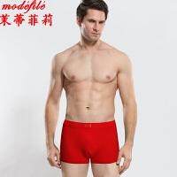 茉蒂菲莉 内裤 男士新款学生本命年红色平角四角裤男式中腰纯色舒适时尚内衣