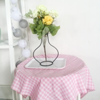粉色格子桌布 简约粉嫩 复古餐桌布茶几书桌盖布台布A225 70*70cm