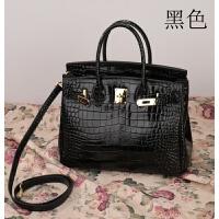 欧美新款铂金包时尚单肩斜跨女式包包 鳄鱼纹真皮女包手提包 35#黑色