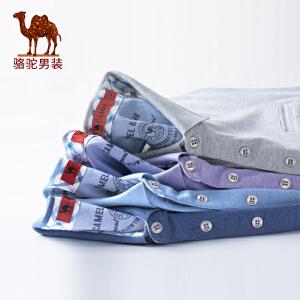 骆驼男装 2018夏季新款男士商务休闲翻领短袖Polo衫纯色棉质t恤男