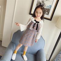 女童格子吊带连衣裙韩版假两件复古学院风儿童裙子亲子款