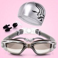 简约泳镜女近视高清防水雾大框电镀男士成人游泳装备有度数的眼镜