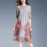 真丝女装夏季新款短袖中长款裙子宽松印花桑蚕丝连衣裙复古A字裙 灰色