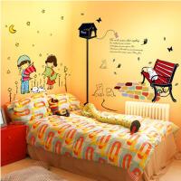 时尚卧室床头温馨浪漫满屋自粘墙贴 房间宿舍衣柜可爱情侣贴纸可移除家居日用 +路灯下的猫咪