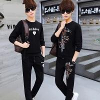 韩版潮流休闲运动服两件套男 青少年学生帅气大码套头卫衣长裤套装男士