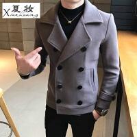 夏妆新款双排扣毛呢大衣男短款修身韩版帅气青年英伦呢子风衣外套