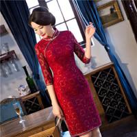 新款蕾丝中长款中袖改良修身时尚少淑女士妈妈装旗袍礼服