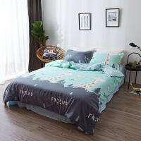 纯棉水洗棉四件套床单被套1.8m床上用品单人床学生被子宿舍三件套