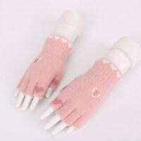 秋冬季半指手套女孩子办公打字保暖漏指半截手套冬天学生写字手套