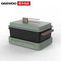 韩国大宇(DAEWOO)多功能料理锅烤肉机火锅电烤锅烧烤炉家用蒸煮网红一体锅S11 绿色