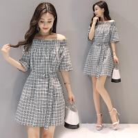 韩版宽松系带黑白格子气质短袖气质一字领年夏季连衣裙 格子
