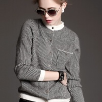 秋冬羊绒棒球开衫女短款条纹毛衣长袖圆领外套韩版打底羊毛衫