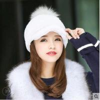 街头潮流鸭舌韩版皮草帽子甜美可爱女獭兔毛整皮休闲骑士帽狐狸毛球